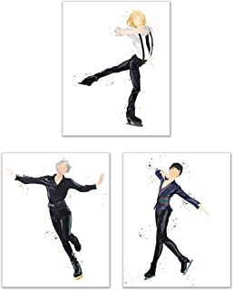 Watercolor Yuri!! on Ice Poster Prints - Set of 3 (8x10) Glossy Anime Manga Figure Skating Wall Art Decor - Victor Nikiforov - Yuuri Katsuki - Yuri Plisetsky