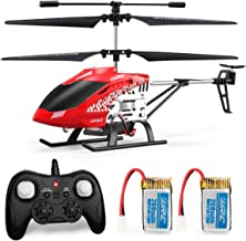 Helicopter with Remote Control, JJRC JX01 Helicopter 3.5CH Altitude Hold Helicopter with 2Batteries for Kids, Gyro 2.4GHz and LED Light for RTF Crash Resistance Helicopter RC Drone Toy Gift (Red)