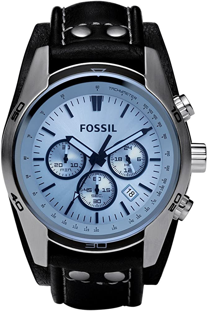 fossil orologio cronografo uomo cassa in acciaio inossidabile e cinturino in vera pelle ch2564