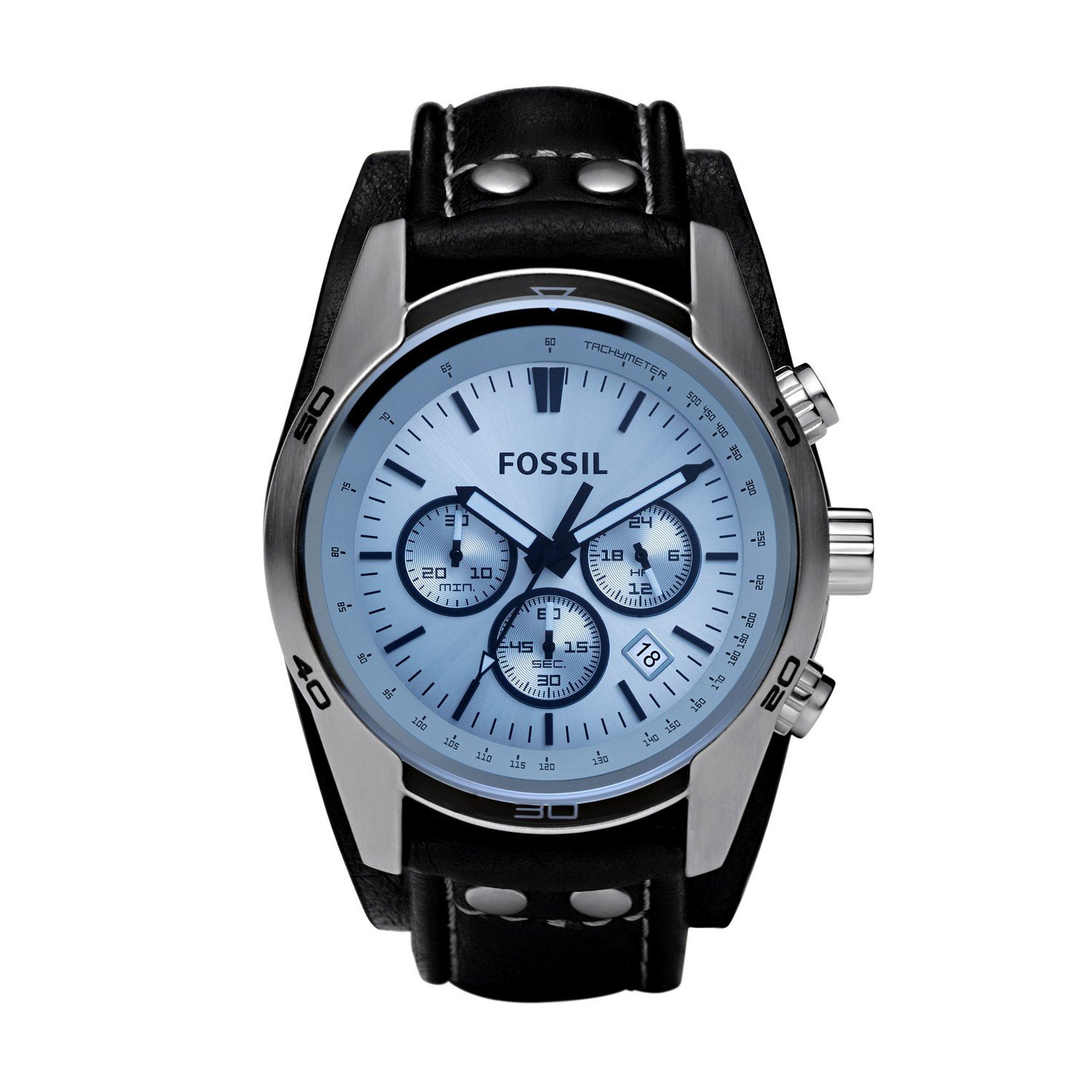 Fossil Quartz Stainless Leather Casual