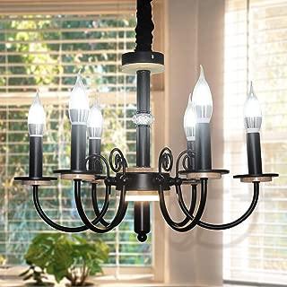 Garwarm Vintage Retro Farmhouse Candle Chandeliers,Industrial Elegant Chandelier Pendant Light for Hallway Bedroom Kitchen Kids Room,6-Lights (Black)