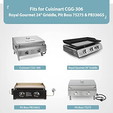 """24 Inch Grill Cover for Cuisinart CGG-306, Royal Gourmet 24"""" Griddle, Pit Boss 75275 & PB336GS and Most 2-Burner Port"""
