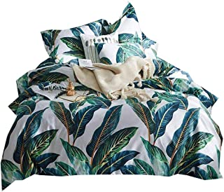 AMWAN Fresh Leaves Tropical Duvet Cover Set Queen Long Staple Cotton Floral Bedding Set Full Reversible 3 Pcs Leaves Comforter Cover Set 1 Duvet Cover with 2 Pillowcases Queen Bedding Collection
