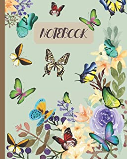 Notebook: Butterflies & Floral Watercolor - Lined Notebook, Diary, Track, Log & Journal - Cute Gift for Girls, Teens, Women (8