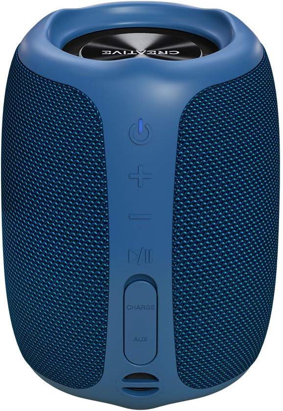 Altavoz para exteriores Creative MUVO Play-portátil Bluetooth 5.0, con certificación IPX7 de resistencia al agua, hasta 10 horas de autonomía y con Siri y Google Assistant (Azul)