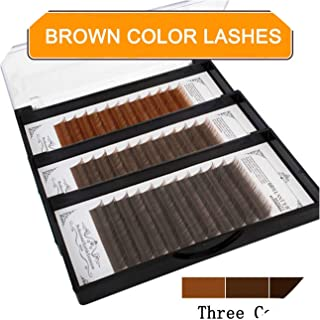 Fashion Dark Brown Color Classic Lashes Black Coffee False Eyelashes Extensions Natural Soft Density Row Caramel,J,0.07mm,11mm,Light brown