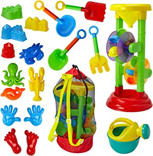 Dragon Too Kids Beach Toy Set -19 Piece Kit in Mesh Backpack Bag - Shovels, Scoops, Buckets, Waterfall, Shapes and More for Sand Castles, Water Play and Sand Boxes
