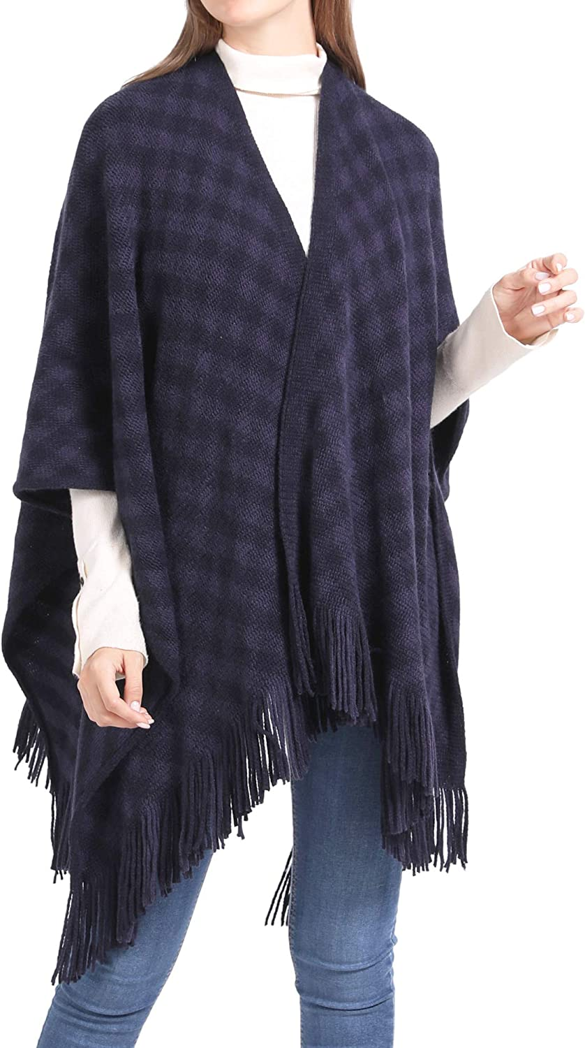 Knit Shawl Wrap for Women Knitted Poncho Cape with Pocket Long Cardigan Open Front Sweater with Tassel