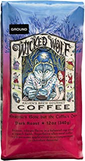 Raven's Brew Wicked Wolf Ground Coffee, 12 Ounce - Dark Roast - Full Body of Currant and Spice