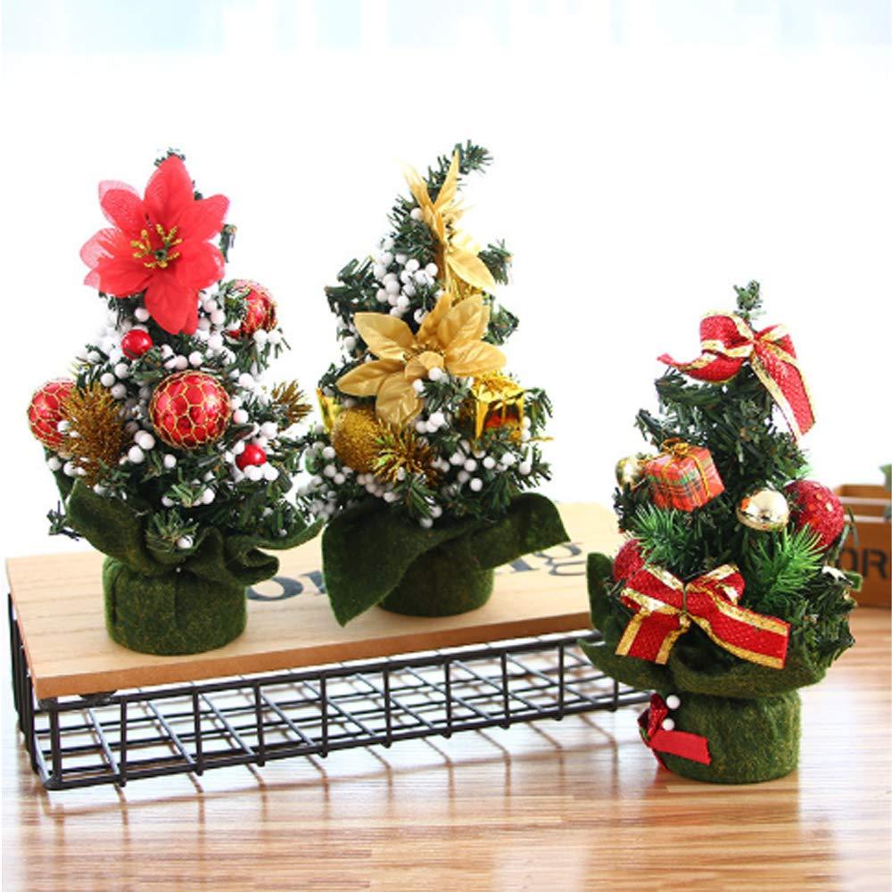 CLHCilihu 3pcs Mini Mesa Árbol de Navidad, 20cm Artificial pequeño árbol de Navidad Pino con Diferentes Ornamental árbol de Navidad por la Ventana Home Office Shop: Amazon.es: Hogar