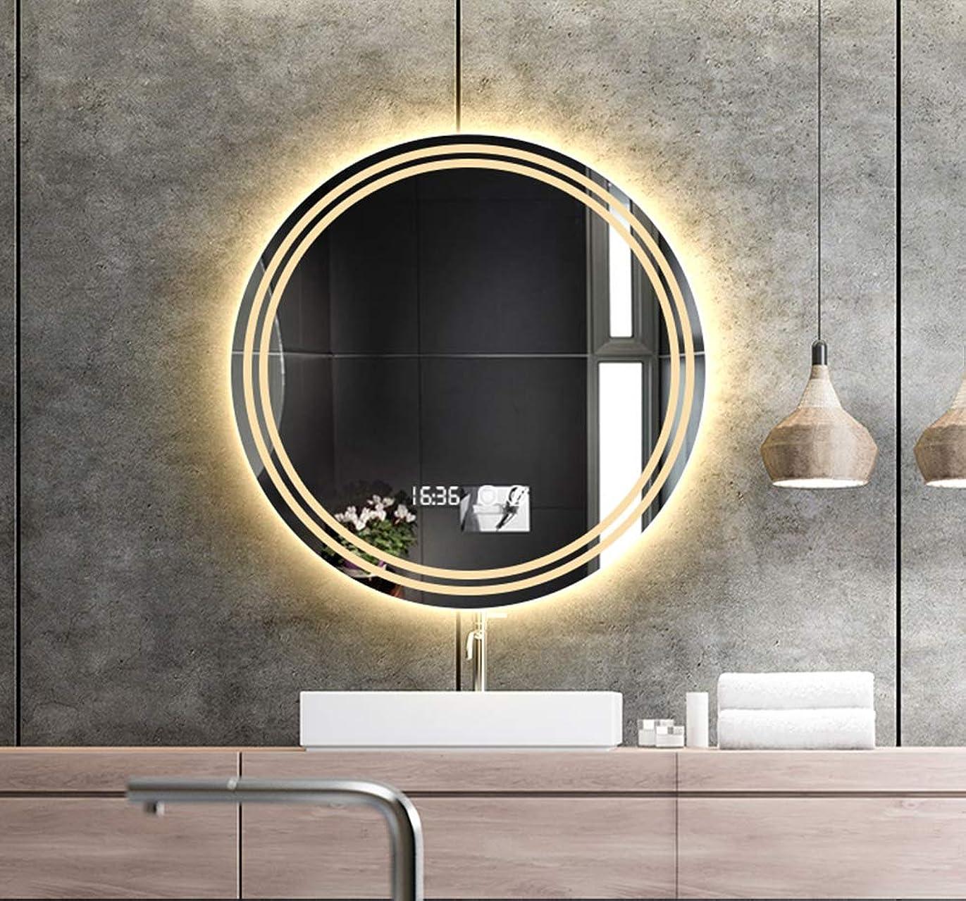 対応草マイルストーンフレームレスLEDバスルームミラー、壁掛け式スマートバックライトミラー、ライト付きの円形化粧鏡、タッチスイッチ+防曇