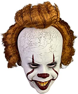Jacos IT Pennywise Mask Realistic, Scary Overhead Clown Mask, Halloween Costume Party Creepy Scary Decoration Props