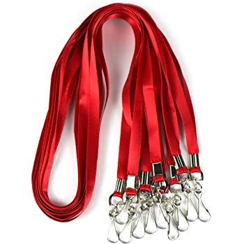Red Red Lanyard Clip Swivel Hook 50 Pack 33-Inch Lanyards with Clip Badge Lanyard Bulk Office Nylon Neck Flat Red lanyards for id Badges Key Chains