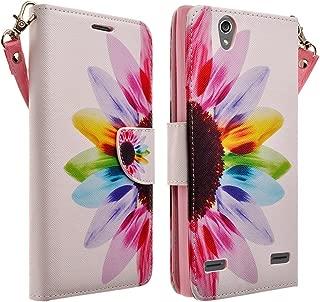 Compatible for ZTE Lever LTE Case, ZTE Z936L Case, ZTE Z936C Case- Magnetic Leather Folio Flip Wallet Pouch Case Cover Kickstand (Sunflower)
