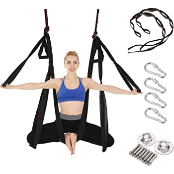 Amazon Com Arcfoxi Aerial Yoga Swing Set Yoga Hammock Trapeze Sling Antigravity Ceiling Hanging Yoga Sling Inversion Swing With Two Extender Hanging Straps Sports Outdoors