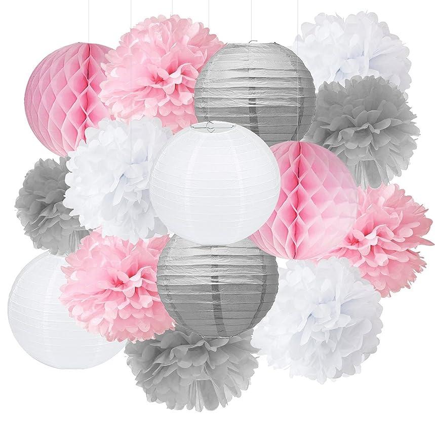 Baby Shower Decorations Furuix 15pcs Pink Grey White Party Decoration Kit Tissue Paper Pom Pom Honeycomb Ball for Bridal Shower Girls' Birthday Wedding Birthday Party Decoration Pink