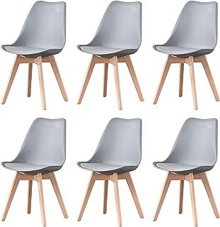 Lot de 4/8 chaises de salle à manger élégantes style nordique pour la maison, pieds en bois de hêtre naturel, coussins dou...