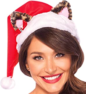 Leg Avenue Women's Plus-Size Santa Kitty Plush Hat with Mini Bell Bow Adult Costume, Multi, O/S