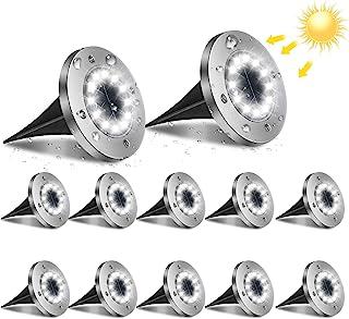 flintronic Lumière Solaire Extérieur, 12pack 12LED Luminaire Jardin Au Sol Eclairage 6000K Etanche IP65 Lampe Solaire Spot...