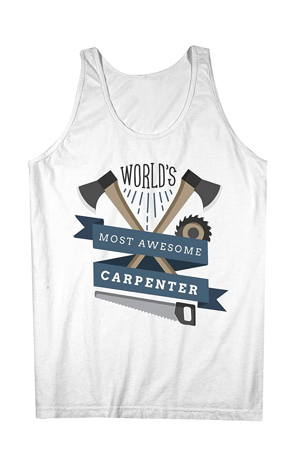 World's Most Awesome Carpenter Woodworker 男性用 Tank Top Sleeveless Shirt