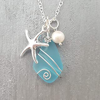 Handmade in Hawaii, Wire Wrapped Turquoise Bay blue sea glass necklace, Starfish charm, freshwater pearl, (Hawaii Gift Wrapped, Customizable Gift Message)