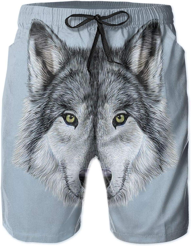 Wolf Portrait with Beautiful Gaze Sublime Animal Illustration Canine Beast Drawstring Waist Beach Shorts for Men Swim Trucks Board Shorts with Mesh Lining,L