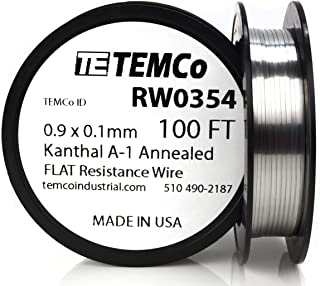 TEMCo Flat Ribbon Kanthal A1 Wire 0.9mm x 0.1mm 100 Ft Resistance A-1