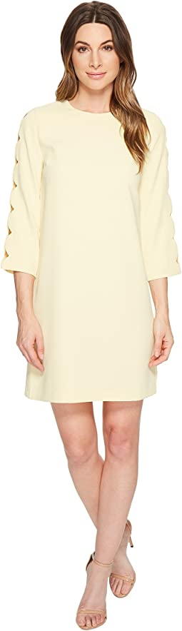 Long Sleeve Moss Crepe Shift Dress w/ Cut Outs