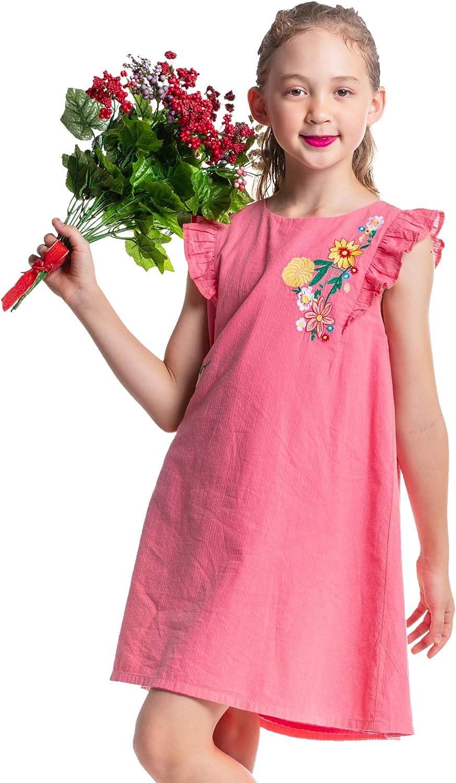 M.D.K Girls Cap Sleeve Ruffles Floral Garden Embroidery Mini Dress