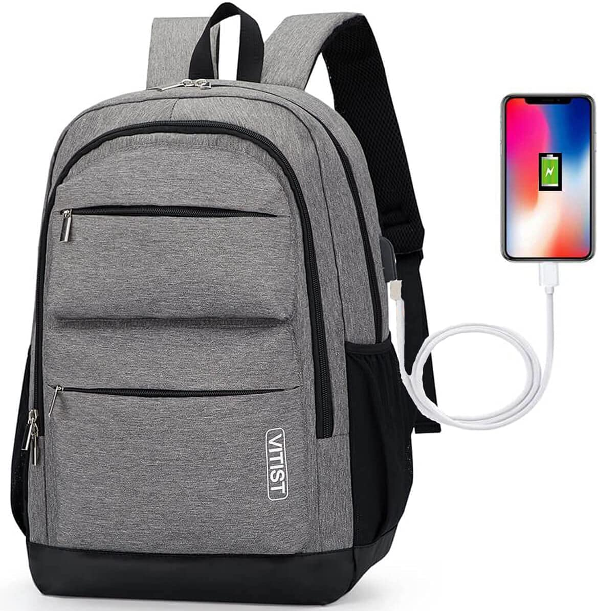 Casual Daypack Backpacks Laptop Backpack Travel Hiking School Backpack Student Backpack Purse Waterproof Business with USB Charging Port Fits 15.6 Inch Notebook Gray