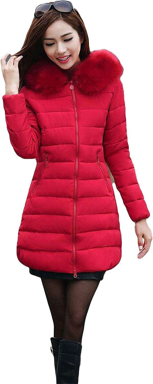 Long Women'S Winter Jacket Women Female Faux Fur Collar Hooded Down Cotton Warm Coat