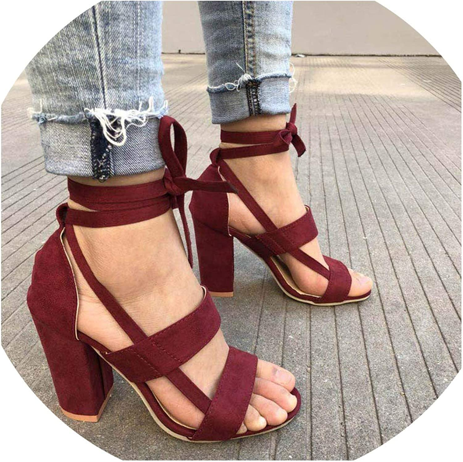 Monica's house Plus Size Female Ankle Strap High Heels shoes Thick Heel for Women Party Wedding,Wine Red-D2312,9