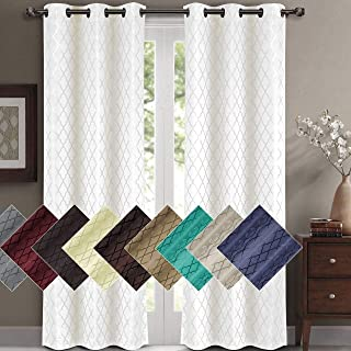 Willow Jacquard White Grommet Blackout Window Curtain Panels, Pair / Set of 2 Panels, 84x108 Inches Pair, 42x108 Inches Each Panel, by Royal Hotel