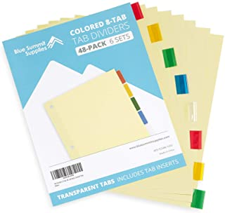 Blue Summit Supplies 8-Tab Binder Dividers, Manila Paper with Insertable Colored Plastic Tabs, Reinforced 3 Ring Dividers with Perforated Paper Tab Inserts, 6 Sets