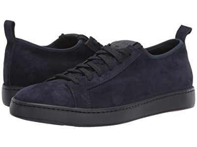 Santoni Cleanic Stretch Suede Lace-Up Sneaker (Navy) Men