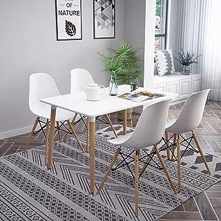 FREDEES Ensemble de 4 tables de salle à manger en bois massif avec pieds en métal et 4 chaises blanches, meubles de salle ...