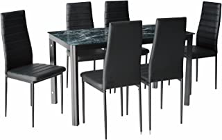 IDS Online 7 Pieces Home Dining Kitchen Furniture Set, with with Faux Marble Glass Top Metal Leg and Frame, Black,