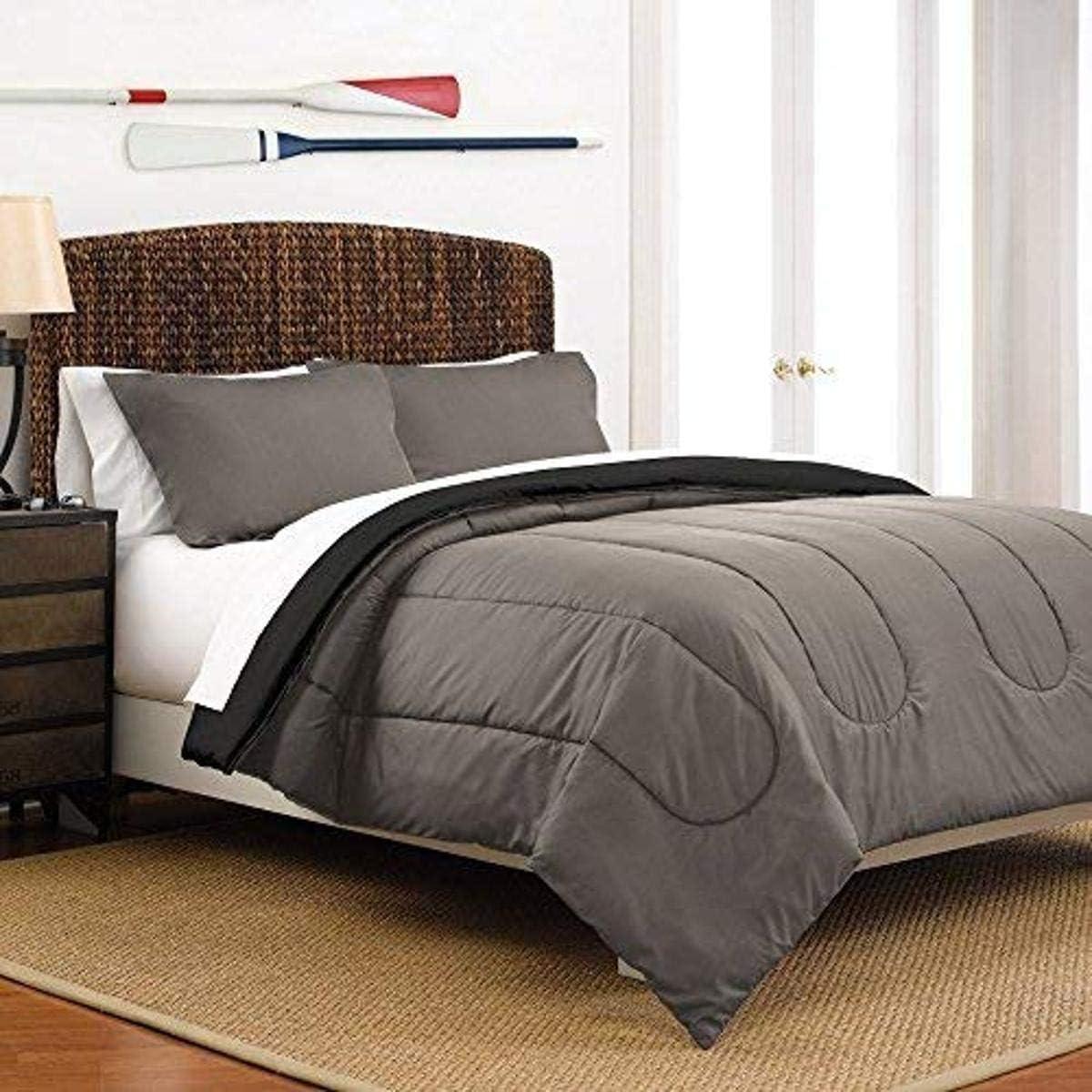 Martex Reversible Comforter Gorgeous Set Genuine Free Shipping Ebony Twin Graphite