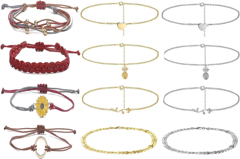 INENIMARTJ 12pcs Boho online shop Ankle Bracelet Milwaukee Mall Women Girls for Set Handmad