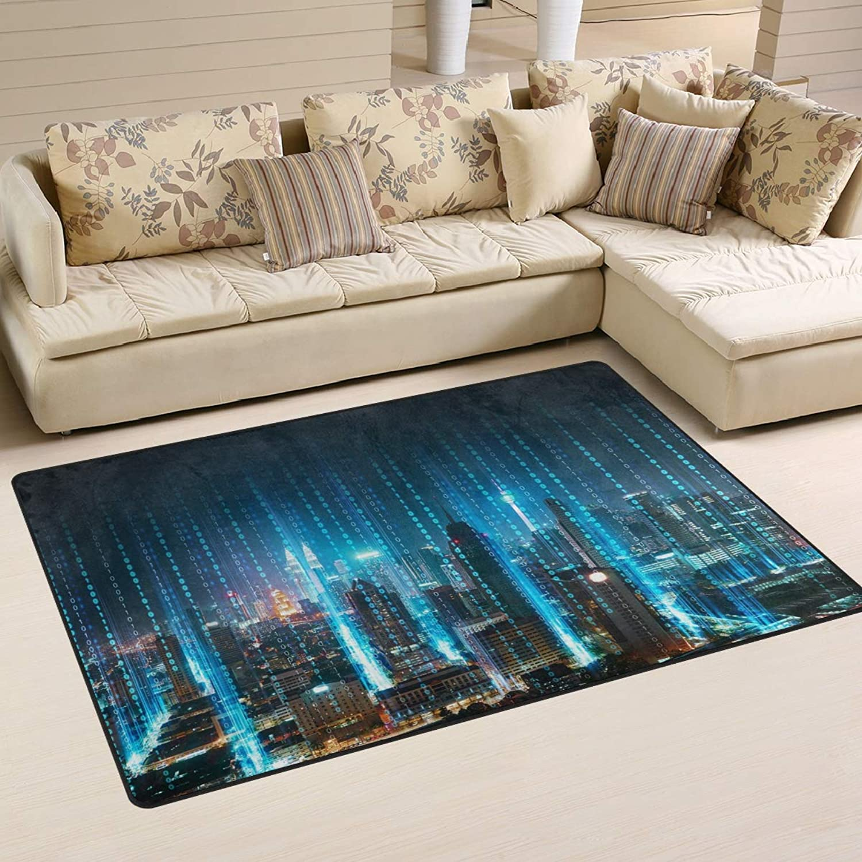 Area Rugs Carpet Doormats 60x39 inches Abstract 3D Modern City Living Room Bedroom Decorative Non-Slip Floor Mat