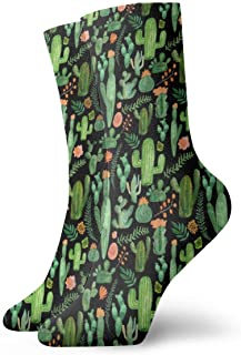 Jhonangel, Green Cactus Socks Crew para Hombres Mujeres Niños, Trekking, Rendimiento, Exterior 30 cm / 11.8 pulgadas