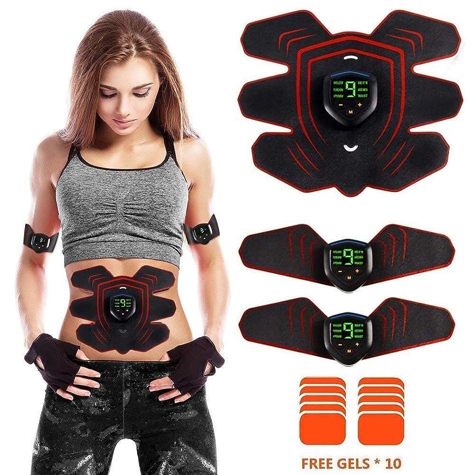 明らかミキサー筋肉刺激装置 ABSトレーナー マッスルトナー、 EMS 腹部 トーニングベルト、 あり 液晶ディスプレイ 充電式USB 6つのモードと10の強度、レベル ユニセックス 家庭 事務所 ジムの設備、 エクストラ10ジェルパッド