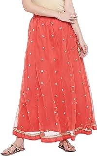 Globus Peach-Coloured Embellished Flared Skirt