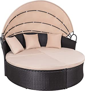 KaiMeng Patio Sets Outdoor Round Daybed with Retractable Canopy PE Rattan Wicker Furniture with Cushion and Pillows Detachable for Patio Garden Backyard Pool (Black)