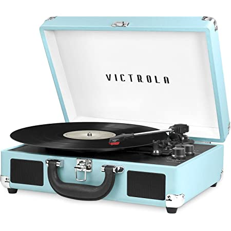 Victrola Vintage 3-Speed Bluetooth Portable Suitcase Record Player with Built-in Speakers   Upgraded Turntable Audio Sound  Includes Extra Stylus   Turquoise, Model Number: VSC-550BT-TQ