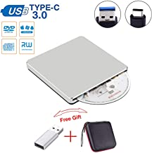 Guamar External CD DVD Drive USB C Slot in Drive USB 3.0 External CD Drive CD Player +/-RW Burner Writer Compatible with MacBook Pro Air/Laptop/Windows10 with Free USB 3.0 Adapter (Sliver00)