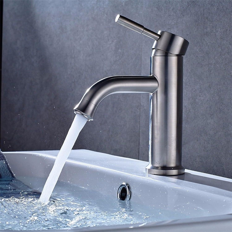 MNLMJ Moderne einfacheKupfer hei und kalt spülbecken wasserhhne küchenarmatur 304 Edelstahl gebürstet einzigen Griff einlochmontage Bad waschbecken Wasserhahn hei und kalt waschbecken Wasserhahn