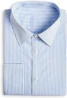 YEABARRON Men's Custom Made Blue Stripe Cotton Monogrammed Long Sleeve Dress Shirt
