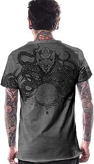 Men's Printed T-Shirt Octopus Illuminati Tie Dye Cotton Top with Raw Cut Edges