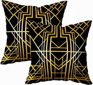 ROOLAYS Christmas Decorative Throw Square Pillow Case Cover 18X18Inch, Cotton Cushion Covers Art Geometric Pattern Style 1920 Both Sides Printing Invisible Zipper Home Sofa Decor Sets 2 PCS Pillowcase